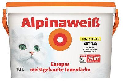 Alpina Innenfarbe Wandfarbe Alpinaweiß matt 10 L Weiss Streichen Renovieren TOP