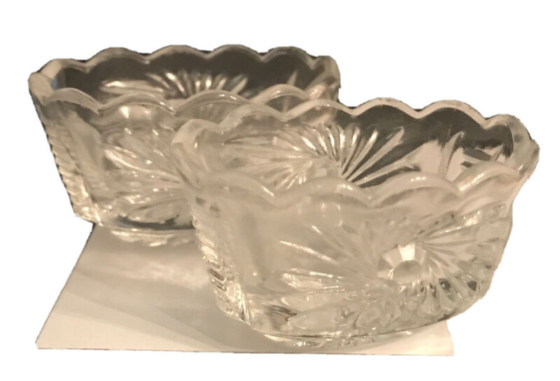 2 Vintage Oval Clear Cut Crystal Butter Pat Dishes Salt Cellars