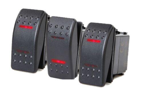 # 3 PCS MARINE BOAT TRAILER ROCKER SWITCH ON-OFF-ON SPDT 4 PIN 2 RED LED RV