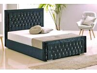Elegant Design-Double Heaven bed Frame With Diamonates in Grey Color