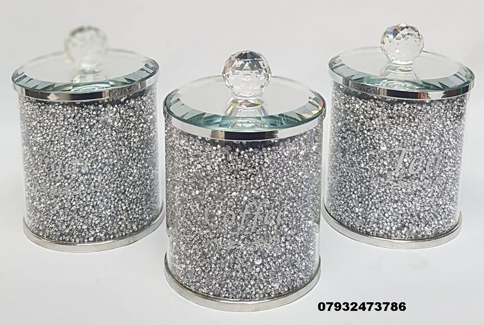 New 3pc Glass Tea Sugar Coffee Canisters With Mirror Lids In Bradford West Yorkshire Gumtree