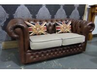 Stunning Chesterfield 2 Seater Sofa in Brown Leather with Tweed - Uk Delivery