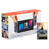 New Nintendo Switch with Gray Joy-Con with Zelda Breath of the Wild Game