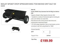 Sealey SPD80T Drop Spreader 80kg Tow Behind grit, seed, salt , fertilizer and weed killer