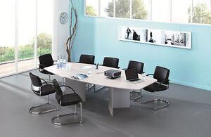 Konferenztisch Holzfüße Weiß 2800 x 1300 mm Meetingtisch Besprechungstisch NEU