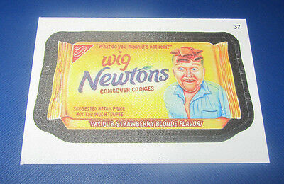 WACKY PACKAGES ANS11 CLOTH STICKER #37 WIG NEWTONS    @@ RARE @@   NM - Wacky Wigs