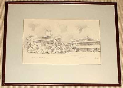 Original-Zeichnung REALSCHULE PLÜDERHAUSEN - signiert 1986 Gerahmt hinter Glas