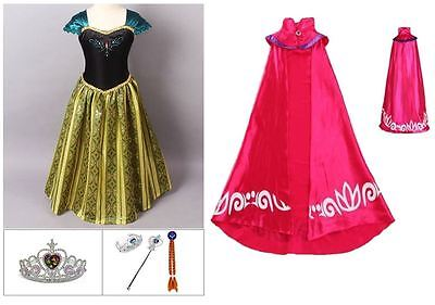 NEW FROZEN ANNA CORONATION DRESS COSTUME LONG CAPE TIARA CROWN BRAID WAND 3/9T