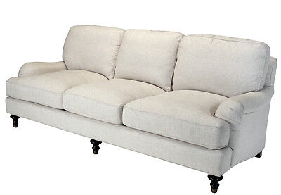 WESTPORT ENGLISH ROLL ARM SOFA linen cotton poly  off white down cushions  -