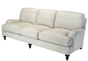 Westport English Roll Arm Sofa Linen Cotton Poly Off White Down Cushions