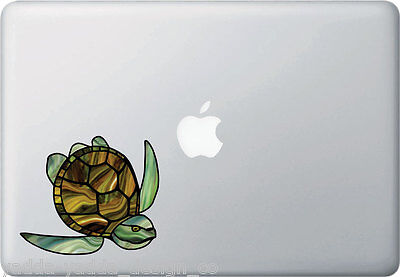 CLR:MB - Sea Turtle Stained Glass Style Vinyl Laptop Decal ©YYDC (4.5
