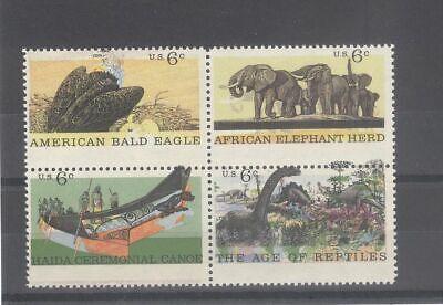 US 6c Eagle Elephant Dinosaur Block With Very Drastic Perf Error