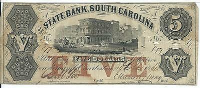 President Directors State Bank South Carolina  5 1860 Low Serial  177 G22a Note