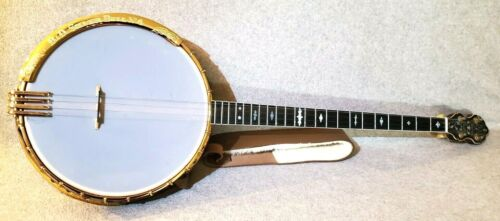 Bacon & Day Silver Bell No. 4 Plectrum Banjo  B&D Very Rare!  With leather case!