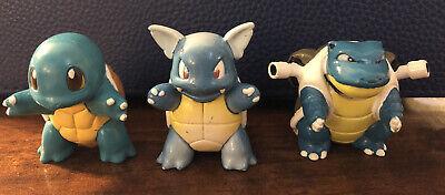 Vintage Pokemon Toys Gen 1 Tomy Figures 1998 Squirtle, Wartortle, and Blastoise