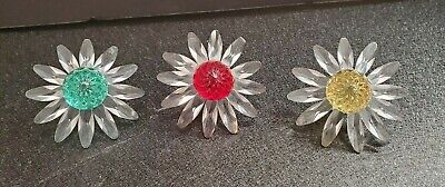 Swarovski SCS Millenium Crystal Marguerite Daisy Flowers x3 Red, Green, & Yellow