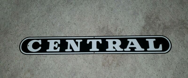 "Vintage Porcelain Enamel (?) Trolley Car Sign ""CENTRAL"" 48X6"