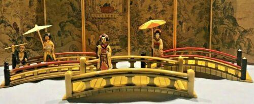 Vintage Celluloid Japanese Lot of 3 Bridges with Geisha
