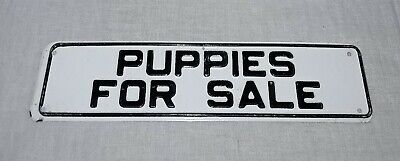 VINTAGE PUPPIES FOR SALE TIN EMBOSSED SIGN