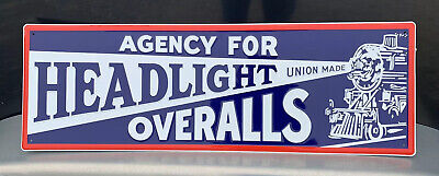 Headlight Overalls Metal Sign Garage Vintage Style Decor Train Jeans Clothing