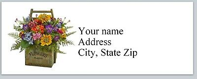 Personalized Address Labels Flowers In Basket Buy 3 Get 1 Free C 841