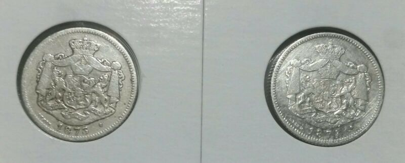 1873 & 1874 Romania 1 LEU .Silver Cleaned