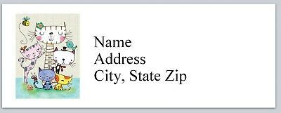 Personalized Address Labels Cartoon Abstract Cats Buy 3 Get 1 Free P 617