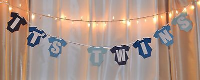 it's twins baby shower navy/royal/baby/ligh blue hanging clothing banner (Twins Party Supplies)