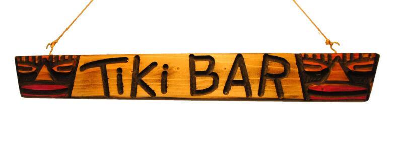 Original Carved Wood 2 Masked Tiki Head Bar Sign - Tribal Surf Shack Decor