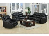 Brand new Real Leather Bentley Recliner Sofa Set In Black Or Chocolate Brown - RRP OVER £1200!