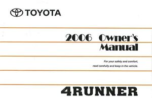 2006 Toyota 4Runner Owners Manual User Guide Reference Operator Book Fuses Fluid