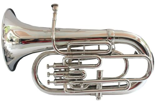 BUY IT NOW! New Silver 4 Valve Bb/F Euphonium With Free Hard Case+M/P+FREE SHIP