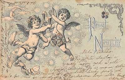 New Years Greetings Cherubs Angels Champagne Clovers Moon Postcard J61723](New Years Champagne)