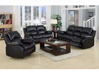 chicago 3+2 Seater Bonded Recliner Leather Sofa - Black Cream or Brown Colours Options