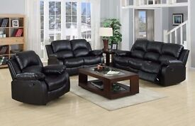 !UP TO 60% OFF !Top quality Leather Bonded Recliner Sofa Suite 3 Colors ( 3+1 Seat Sofa Set )