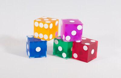 Multi-Color Casino Dice Set d6 19mm Razor Edge No Serial Numbers or Names Clean