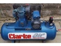 Clarke SE16C150 Air Compressor, 240v Single phase, 3hp, 14CFM, 150L (2010)