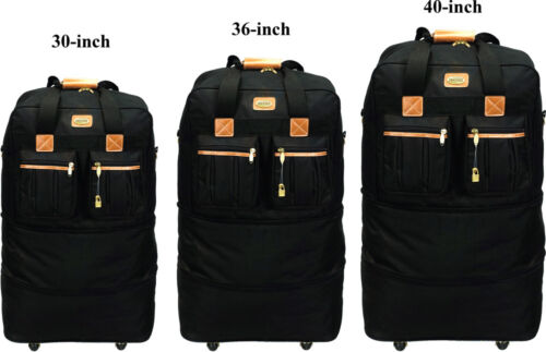 """30""""/36""""/40""""Expandable Rolling Duffel Wheeled Spinner Suitcase Luggage Heavy Duty"""