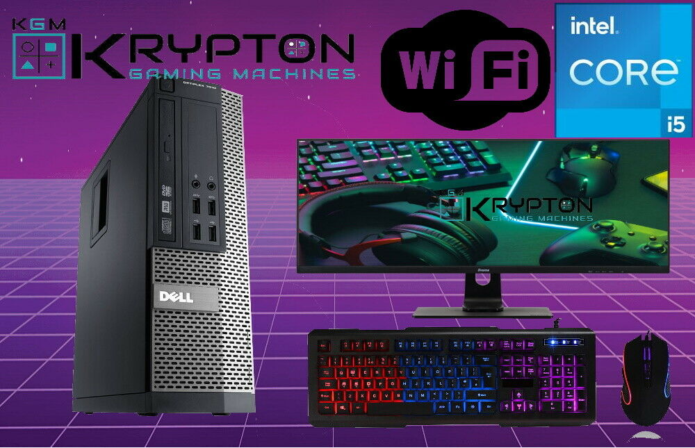 "Computer Games - FAST Computer  DELL BUNDLE  INTEL i5 16GB 240SSD+1 TB  19""LCD  Windows 10"
