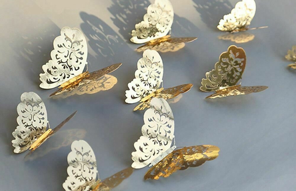 Home Decoration - 12pc 3D Butterfly Wall Stickers Decals Home Bathroom Decor DIY gold
