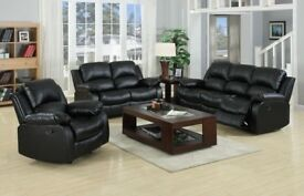 FAST DELIVERY-BEAUTIFUL DESIGN BOSTED 3+2 RECLINER SOFA IN BLACK AND BROWN-CASH ON DELIVERY