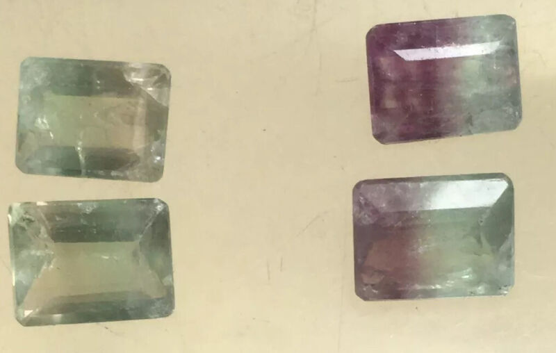8 Perfect Pair 10/8mm Faceted Rectangular Pale Green & Purple Fluorite Stones #6