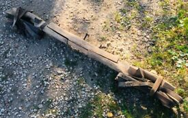 Antique Agricultural Old French Double Yoke with straps -for restoration 67 inch