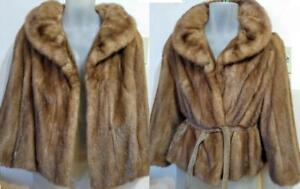 Womens Petite 12 14 Large Mink Coat Vintage Retro Belted Real Fur 38 40 Short Jacket Brown
