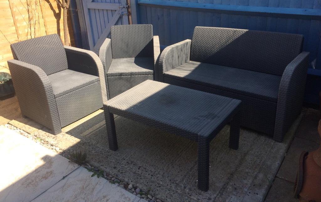 Ikea Rattan Grey Plastic Weather Proof Garden Furniture Table And Chair Set In Corfe Mullen Dorset Gumtree