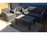 IKEA rattan grey plastic weather proof garden furniture table and chair set