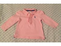 Two Ralph Lauren: Baby Girls light pink top (2x). Immaculate condition. Age: 9 months