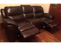 Brown Leather 3 Seater Recliner Sofa and Electric Chair