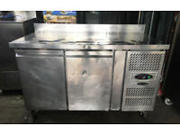 Tefcold Commercial 2 Door Pizza Prep Fridge- Refrigerated Prep Counter- / Counter Fridge