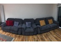 Hardly used DFS Recliner Sofa set 3+2+1 and stool for sale